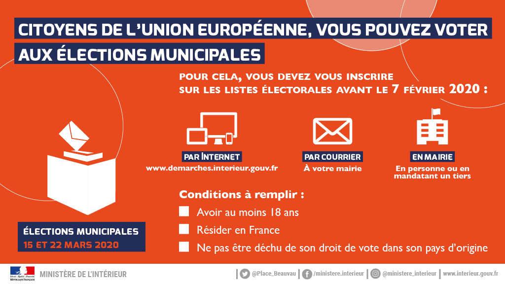Infographie Inscription listes electorales 2020 Citoyens UE